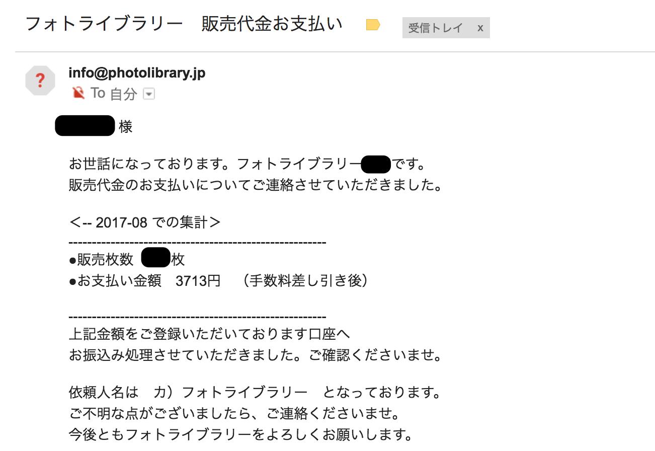 フォトライブラリーの振込メール